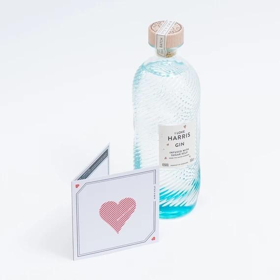 """""""I Love Harris Gin"""" Geschenk Box mit Grußkarte 0,7l 45 % Vol"""